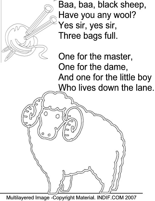 Baa black sheep coloring page