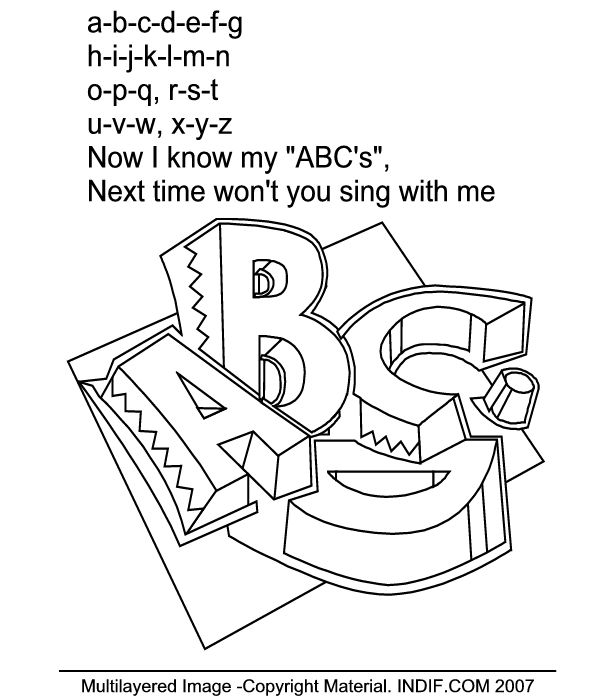 The A B C D Song Coloring Page