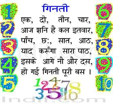 Hindi numbers teen and paanch