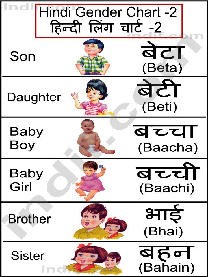 Hindi Gender Chart