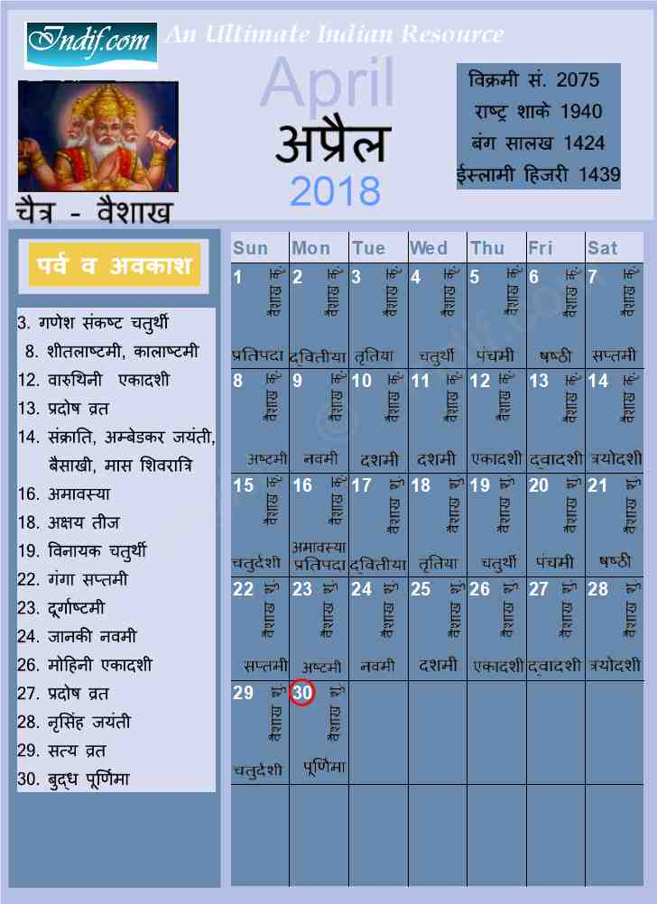 April 2018 Indian Calendar Hindu Calendar